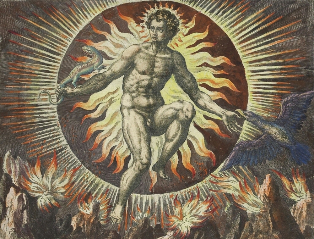 The Element Of Fire Personified By Sun God Helios Adriaen Collaert Maerten De Vos And Gerard Jode 1580 84
